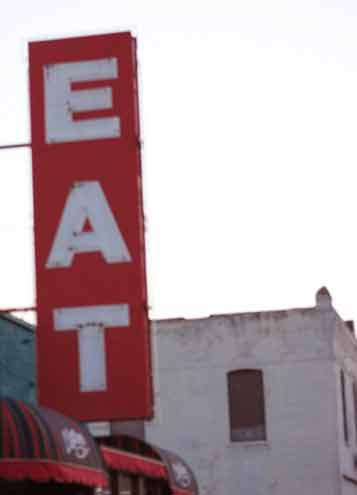 "Review: Clanton's Cafe, Vinita, OK. It may be the giant ""EAT"" sign outside ..."